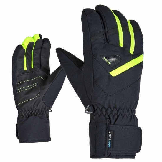 Ziener GARY AS Handschuhe - black/poison yellow 10