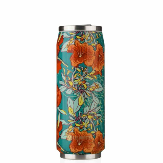 Les Artistes Pull Can'it 500 ml Trinkflasche - peonies