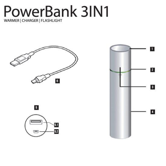 Therm-ic PowerBank 3in1 Flashlight silver